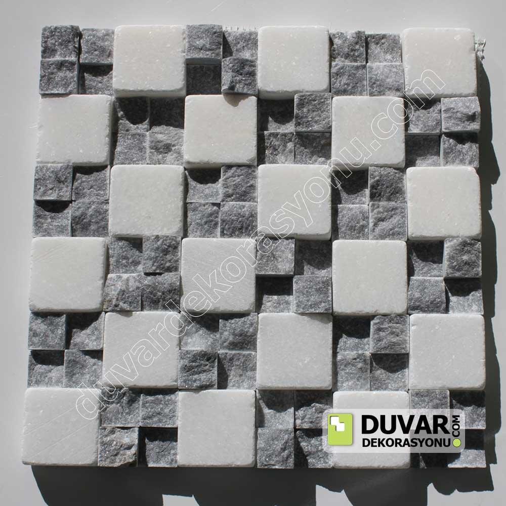 Beyaz eskitme-siyah patlatma taş karma